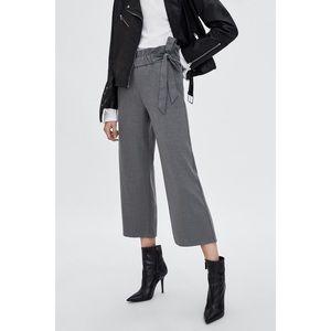 [Zara] Gray High Waisted Tying Cropped Pants